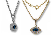 Picture of Small Oval Evil Eye Charm With Zircon